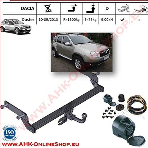 AHK Anhängerkupplung mit Elektrosatz 13 polig für Dacia Duster de 2010-2013 Anhängevorrichtung Hängevorrichtung - starr, mit angeschraubtem Kugelkopf