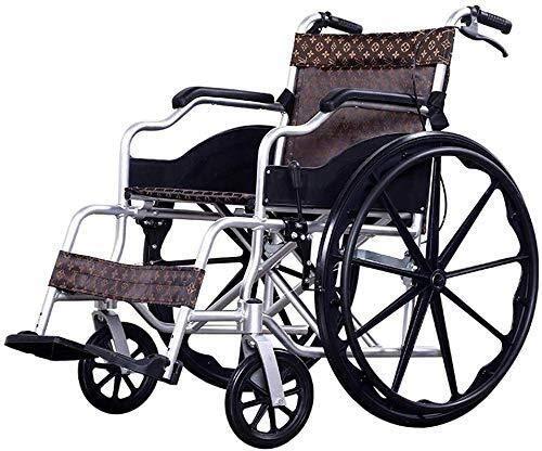 Rollstuhlgehbare Hilfsmittel Rollstuhl Rollstuhl mit Eigenantrieb und Töpfchen, Leichter Aluminiumrahmen, Faltbare tragbare Reiserollstühle mit Handbremse, abnehmbare Fußstützen für