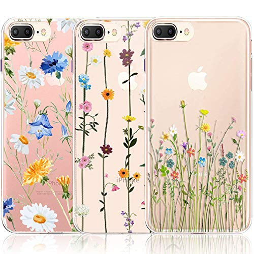 iPhone 7 Plus Case, iPhone 8 Plus Case, [3-Pack] CarterLily Watercolor Flowers Floral Pattern Soft Clear Flexible TPU Back Case for iPhone 7 Plus iPhone 8 Plus (Cute Wildflower)