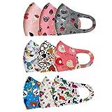 Más_Cara con Elástico Comodas para Los Oídos Lavable Reutilizable a Prueba De Polvo Y Neblina De Algodón De Seda De Hielo para Niños, 9 Piezas