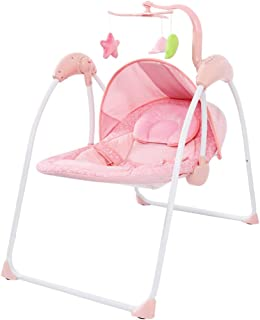 Electric Baby Rocking Chair Remote Swing Soothing Chair Bodyguard Silent Swing Timing Adjustable 0-36 Months Pink