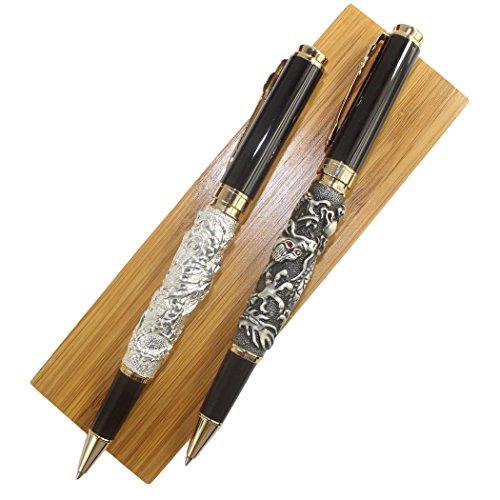 Gullor Auspicious Dragon medium nib rollerball pen, antique silver and grey + 2 in Wooden pen box