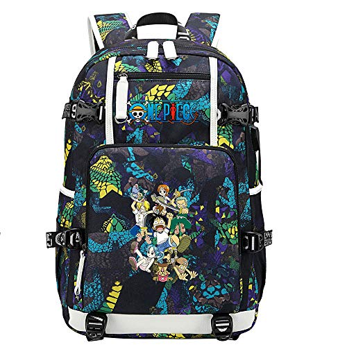 ZZGOO-LL One Piece Monkey·D·Luffy/Roronoa Zoro Anime Backpack Middle Student School Rucksack Daypack for Women/Men with USB-C