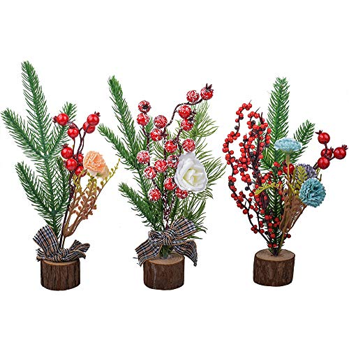 XONOR 10'' Artificial Mini Christmas Tree, 3 Pcs Tabletop Christmas Trees with Ornaments for Home Table Desk Office Xmas Decoration