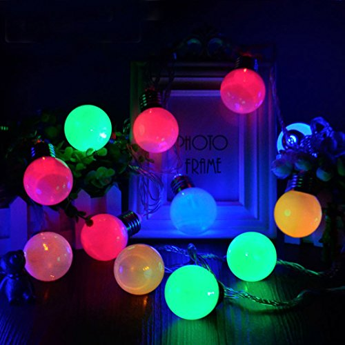 Guirlande Lumineuses Solaire Extérieur,KINGCOO 3M G50 20leds Ampoules Globe Lampes à cordes Solaires Décoratives avec 8 Mode éclairage D'ambiance pour Fête Noël Jardin Maison Mariage(Multicolore)