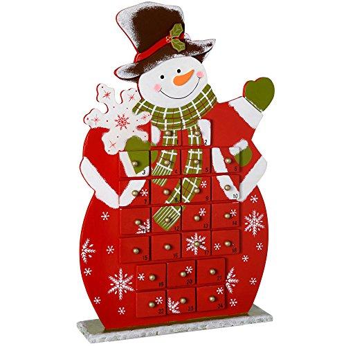 WeRChristmas Calendrier de l'Avent Bonhomme de Neige Décoration de Noël en Bois, Multicolore, 41 cm