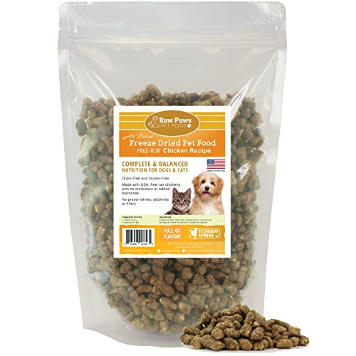 Raw Paws Pet Chicken Freeze Dried Cat Food & Dog Food, 16-oz - Made in USA - Complete Cat & Dog Food Freeze Dried to Preserve Raw Nutrition - Free-Run, Grain, Gluten, Wheat & Antibiotic-Free Chicken