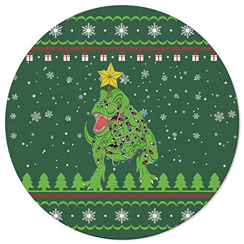 LAMANDA Dinosaur with Christmas String Lights Round Area Rugs, 5ft Indoor Floor Carpet Non Slip Throw Rug for Living Room Bedroom Kids Nursery Green Xmas Tree