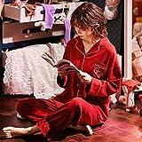 B/H Pigiama da Donna Aperto in Caldo,Pigiama da Donna in Cotone Invernale Plus Size da casa, 33280_M,Pigiami Due Pezzi da Donna