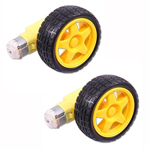 HiLetgo® Set of 2 Smart Car Robot Plastic Tire Wheels with DC 3-6V Gear Motor and Robot 65*27MM