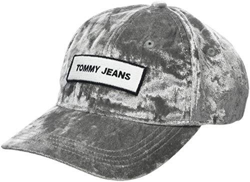 Tommy Jeans Dames TJW Velvet Baseball Cap, Grijs (Grey/Blue Tbc 901), One Size (Manufacturer Maat: OS)