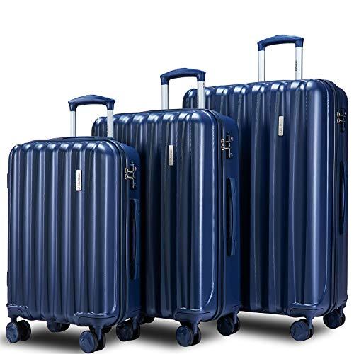 Merax Hylas 3 Piece Luggage Set with TSA Lock and Dual Spinner Wheels, Hardside Lightweight Suitcase Set 20inch 24inch 28 inch (3-piece set, blue)