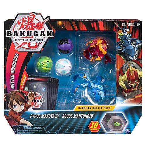 Bakugan Battle 5-Pack Pyrus Maxotaur & Aquos Mantonoid Collectible Cards & Figures