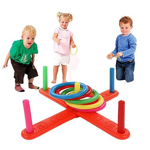 Vovotrade® Hoop Ring Toss Anneau en plastique Toss Quoits Jeu de jardin Piscine Jouet en plein air Fun Set NOUVEAU Garden Game Pool Toy Outdoor Fun (Multicolor)
