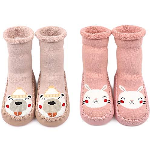 Adorel Baby Hüttenschuhe Gefüttert Socken Anti-Rutsch 2 Paar Pink Häschen & Bärchen 19-20 (Herstellergröße 13)