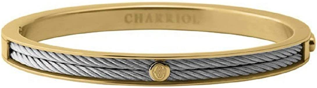 CHARRIOL Women's Forever Two-Tone PVD Stainless Steel Cable Bangle Bracelet 04-104-1139-7