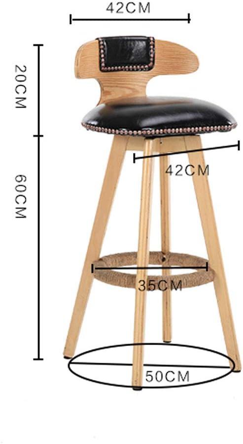 XXT Chaise de bar en bois massif avec tabouret de bar rotatif rétro simple et durable (couleur : C) A