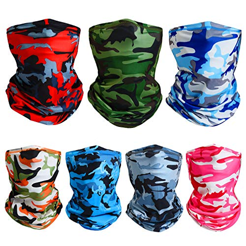 7 Pieces Summer UV Protection Face Cover Neck Gaiter Bandana Breathable Headwrap Cooling Face Cover for Camping Running Cycling Fishing Sport Hunting