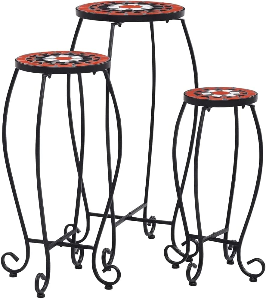 vidaXL 3X Mosaic Table Plant Flower High material Stand Ta Coffee Balcony We OFFer at cheap prices Side