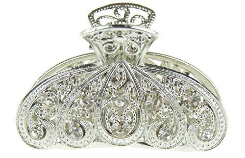 Damen kleine Braut Metall Silber Ton Diamante Haarkralle Haarklemme (Feder)