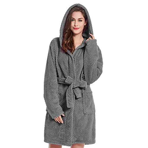 DecoKing Bademantel mit Kapuze L Graphit kurz Damen Herren Unisex Morgenmantel Steppung weich leicht kuschelig Microfaser Fleece Sleepyhead