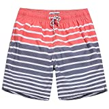 MaaMgic Mens Quick Dry Striped Swim Trunks With Mesh Lining Swimwear Bathing Suits,Qma011-red and Grey,Large