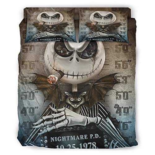 Generic Branded Duvet Cover Set of 4 Halloween Nightmare Jack Before Christmas Print Flat Sheet Pillow Shams Super Soft Home Collection White 10 175 x 218 cm