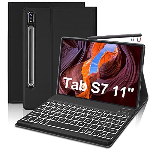 FOGARI Tastiera Custodia Per Samsung Galaxy Tab S7 11 Pollice 2020, Custodia Intelligente con Tastiera Italiana QWERTY Retroilluminata a 7 Colori per Samsung Galaxy Tab S7(SM-T870 T875),Nero
