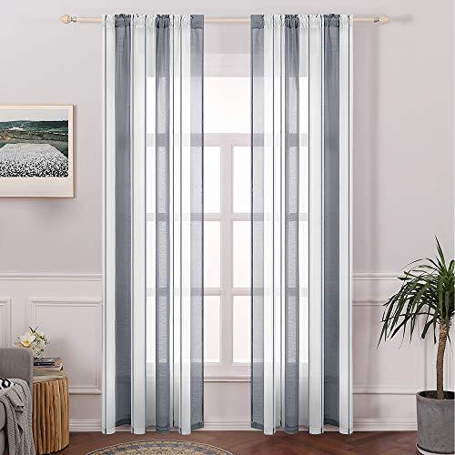 MIULEE 2er Set Voile Vorhang Transparente Streifen Gardine aus Voile Gaze paarig Schlaufenschal Stangedurchzug Transparent Fensterschal Wohnzimmer Schlafzimmer 145 cm x 140 cm(H x B) Weiß + Grau
