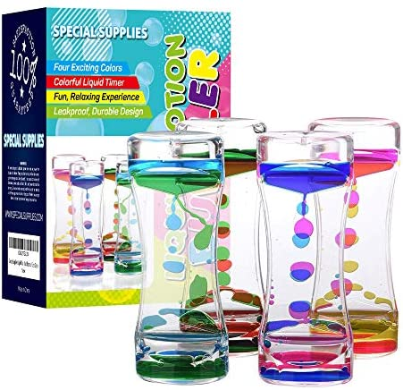 Special Supplies Liquid Motion Bubbler Toy 4 Pack Colorful Hourglass Timer with Droplet Movement product image