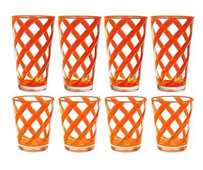 QG 8-Piece 16 oz & 22 oz Neon Orange Stripes Acrylic Iced Tea Cup with Clear Heavy Base Plastic Tumbler Set
