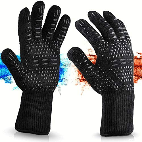 Heat Resistant Gloves Oven Gloves Fireproof Slip Proof Anti Cutting Grill Gloves for Cooking product image