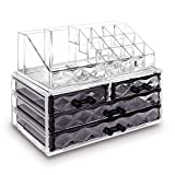 Ikee Design Cosmetic Storage Organizer - Easily Organize Your Cosmetics, Jewelry and Hair Accessories. Looks Elegant Sitting on Your Vanity,9 3/8'W x 5 3/8'D x 7 1/4'H, Clear/Black Diamond Pattern