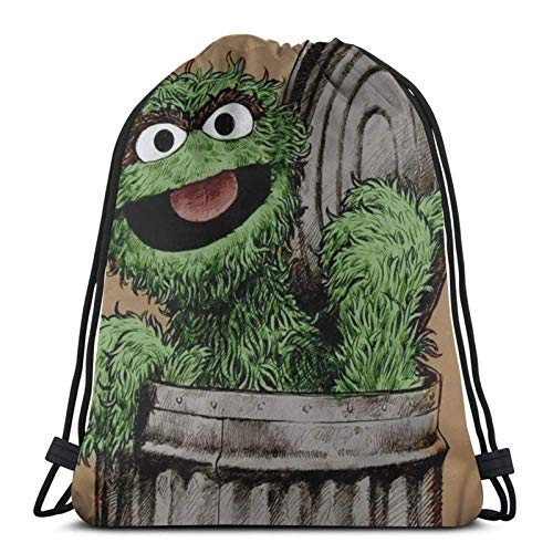 asdew987 Kordelzug-Taschen Se-Sa-Me Str-Eet Vinta-Ge O-Scar- The Gro-Uch Unisex Kordelzug-Rucksack Sporttasche Seiltasche Big Bag Drawstring Tote Bag Gym Rucksack