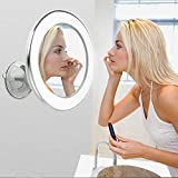 Espejo maquillaje con Luz 30 luces LED, 1 x espejo de pared con ventosa rotación de 360° Cosméti Espejo Iluminado de Baño copara viajes en casa (1 x)