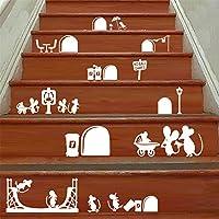 Yanqiao 25*55cm 新DIY漫画のマウス階段階段ステッカーリムーバブルビニールウォールステッカーホームインテリア装飾壁紙、白