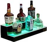 JINGBO Colore LED Ricaricabile Che Cambia 2 Tiers LED Bar Scaffale Portabottiglie per Vino Porta Display per glorificatore Espositore per Bottiglie di liquore,50cm