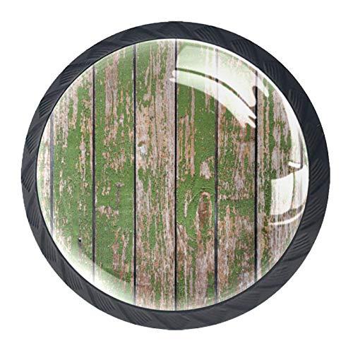 Pomo de armario Madera vieja verde Pomos Redondos, 4 x Tirador de Cocina, Tiradores Muebles para Armario, Puerta Armario, Gabinete, Cajón, Puertas de Muebles, Zapateros 35mm