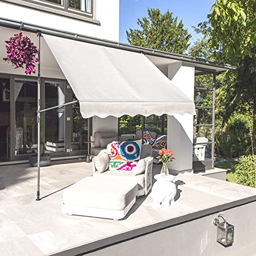habeig Klemmmarkise Markise Beige 250 x 120 x 190-290cm (HxTxB) Balkonmarkise Sonnenschutz Gelenkarmmarkise ohne Bohren (200cm - #479)