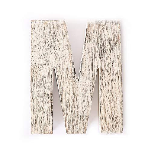 Kaizen Casa Vintage, Rustic Mango Wood Alphabet Letter M, Wall Decor, Wall Sculptures, Home, Office, Party Décor.