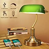 Green Glass Banker's Lamp with 2 Fast USB Charging Ports, 3 Way Dimmable Desk Lamp, Touch Control Vintage Table Lamp for Workplaces, Library, Bedroom, Piano Style Lamp