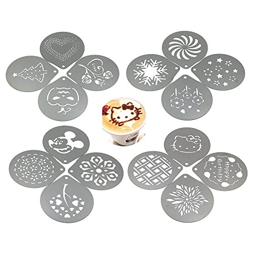 Lofekea Barista Coffee Stencils, 16PCS Stainless Steel Coffee Decorating Stencils Template for Latte Cappuccino, Cupcake Cookie Stencils