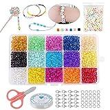 Cuentas de Colores 3mm Mini Cuentas y Abalorios Cristal para DIY Pulseras Collares Bisutería,Mini Regalo Cadena Cadena de Cuentas de Fabricación de Juego (15 Colores)