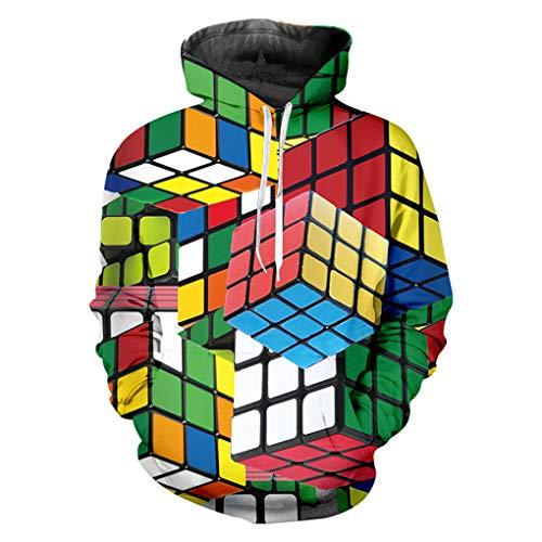 Cubo De ImpresióN En 3D De Los Hombres De Verano con Capucha Rubik Colorido A Cuadros con Capucha Top Rubik Cube S