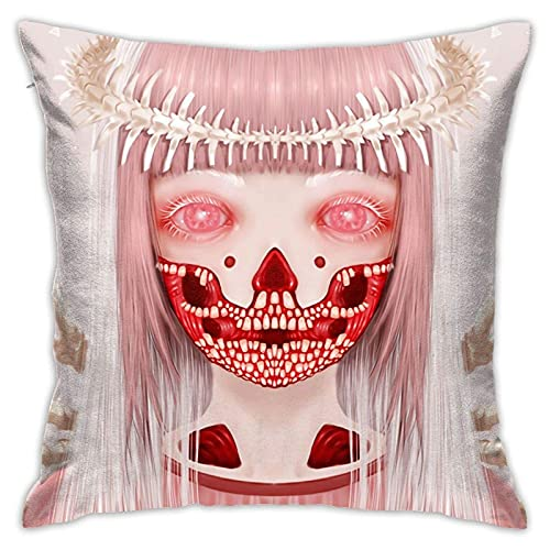 osf Pink Spider Monster Girl Halloween Throw Pillow Cover Decorative Pillow Case Home Decor Square Pillowcase Kissenbezüge 18x18Inch(45cmx45cm)