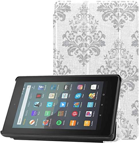 Funda para Tableta Amazon Kindle Fire 7 Completamente Nueva (novena generación, versión 2019), Funda de Soporte Triple ultradelgada y Liviana con Reposo/activación automático, Papel Tapiz Floral Vi