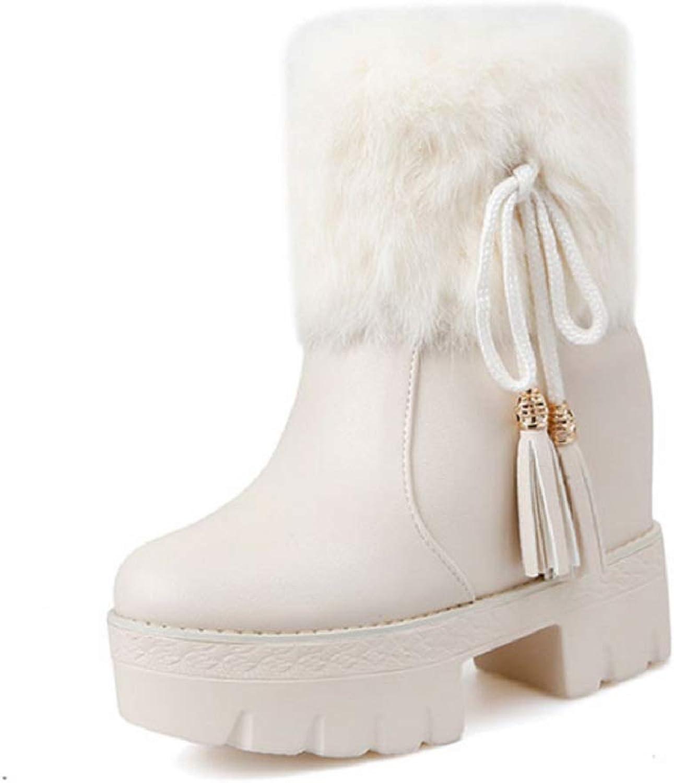Women's Ladies Ankle Winter Boots shoes Hidden Wedge Heel 13cm Fashion Trainers Boots Platform Casual Boots Faux Fur Short Boots