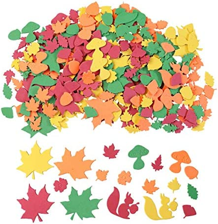 500PCS Thanksgiving Decorations Leaf Foam Stickers Thanksgiving Decor Fall Maple Squirrels Acorns product image