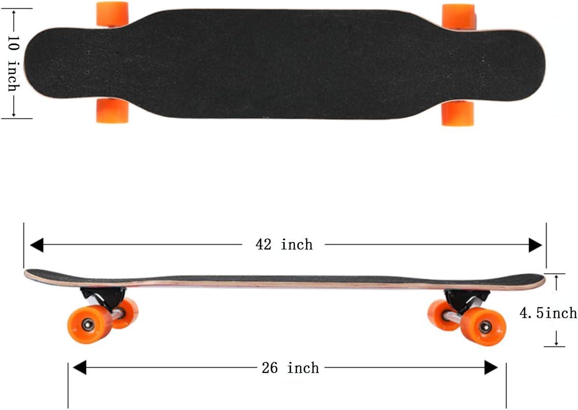 Sumeber Skateboard Longboard 42 inch Classic Maple Drop Through Four Wheels Double Wood Outdoor Sport Hip hop Skateboard for Boys Girls Adult Beginners