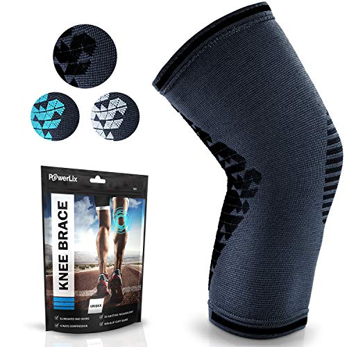 Powerlix Compression Knee Sleeve for Women & Men, Medical Knee Brace for Arthritis & Knee Pain Relief, meniscus tear & Injury Recovery, Knee Support & Protection for Working out, Running & All Sports
